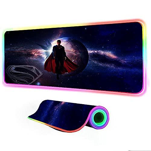 Gaming Mouse Pads Superman RGB Led Mouse Pad Gaming Play Mats Gaming Gamer Backlit Mat Computer Pad Keyboard Pad 27.55 inch x12 inch