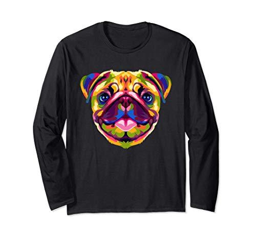ポップアート パグ かわいい モップ 犬 恋人 ギフト 男性 女性 長袖Tシャツ