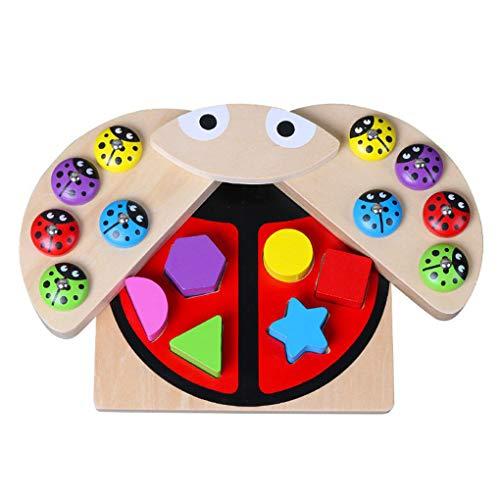 Floridivy Baby Vissen Toy Set Kinderen Magnetic houten puzzel speelgoed Peuters Ladybug vangspel Supplies