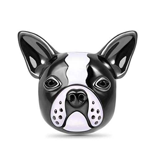 GNOCE Bulldog Charm Bead Sterling Silver White and Black Enameled Animal Charm For Bracelet/Necklace Puppy Dog Charm For Women Girls
