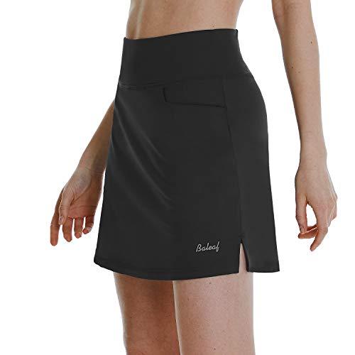 BALEAF Women's High Waisted Golf Skirts Tennis Athletic Running Workout Active Skorts Skirts with Pockets Black Medium