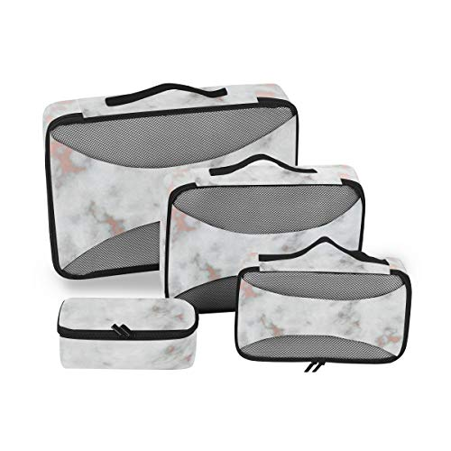 Rose Gold Best Marble 4 Piece Packing Travel Organizer Cubes Set Portable Toiletry Bags
