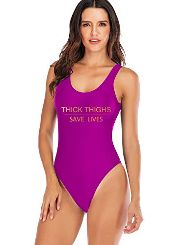 Damen-Badeanzug, dicke Oberschenkel, Save Lives, Einteiler, personalisierter Textdruck, California High Cut Badeanzug - - 3X-Large