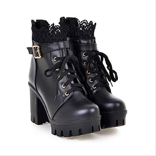 ACWTCHY Winter Enkel Laarzen Vrouwen Schoenen Hoge Hakken Vrouwen Laarzen Lace Up Martin Laarzen Dames Schoenen Platform Casual Schoenen Vrouw Boot