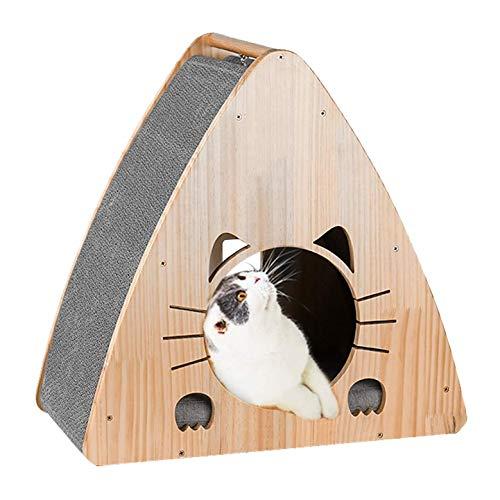 EREW Arena para Gatos De Papel Corrugado De Madera Maciza, Cabaña Triangular Original para Gatos, Suministros De Garras De Molienda para Gatos, Esponja G5, Juguete Sepak Takraw,