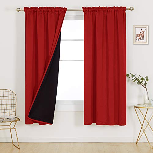 Deconovo Red Total Blackout Curtains Double Layer Lined Panels Block Sun Light Cold Heat Heavy Noise Cancelling Heat Insulated Window Drapes for Indoor Home Office, Set of 2, Each 52x72 in, Red