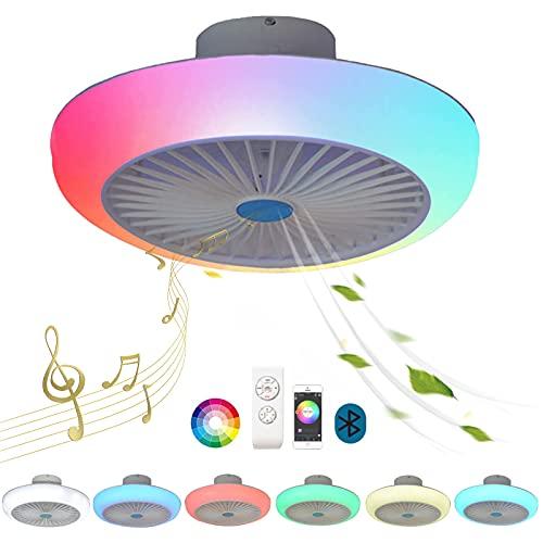 Plafon LED Techo Redondo Regulable Bluetooth Música Altavoz Colores RGB Ventilador Techo con Luz Lampara Mando a Distancia Silencioso Infantil Dormitorio Comedor Ventilador de Techo con Luce Blanca