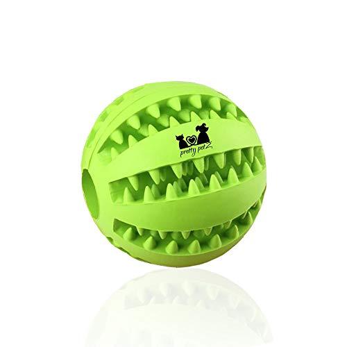 pretty petZ Hundeball mit Zahnpflege-Funktion Noppen aus Naturkautschuk   Robuster Hunde Ball   Hundespielball für Große & Kleine Hunde   Kauspielzeug für Leckerli (1 - Dental Ball Ø 7 cm, Grün)