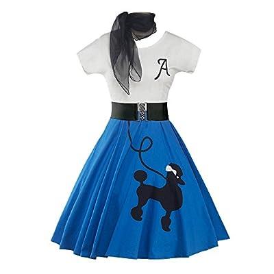 DressLily Retro Poodle Print High Waist Skater Vintage Rockabilly Swing Tee Cocktail Dress