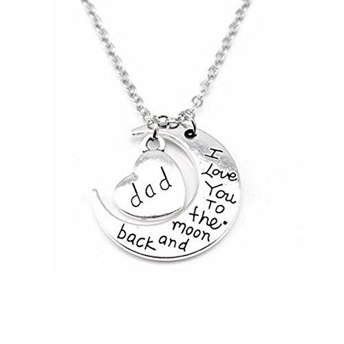 """Kim Johanson Mond Halskette Silber """"Ich liebe dich bis zum Mond und zurück"""" inkl. Geschenkverpackung (Papa)"""