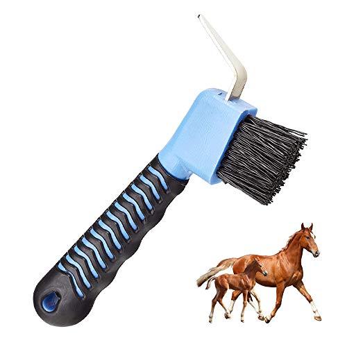 Gobesty Horse Hoof Pick, Hoof-Pick-Brush mit Weichem Gel-Griff 2 in 1 Hufauskratzer für Pferde-Hufpflege (Zufällige Farbe)