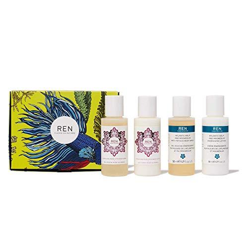 REN Clean Skincare Travel Body Care Gift Set ($27 Value) Moroccan Rose Otto Body Wash, Moroccan Rose Otto Body Lotion, Atlantic Kelp & Magnesium Body Wash And Atlantic Kelp & Magnesium Body Cream
