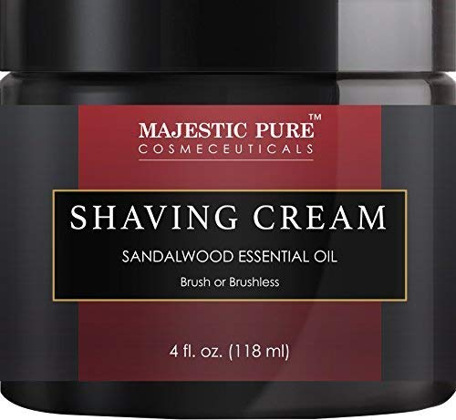 Sandalwood Shaving Cream for Men and Women by Majestic Pure - Smooth Close Refreshing Shave Cream Gel for Smile, 4 fl oz