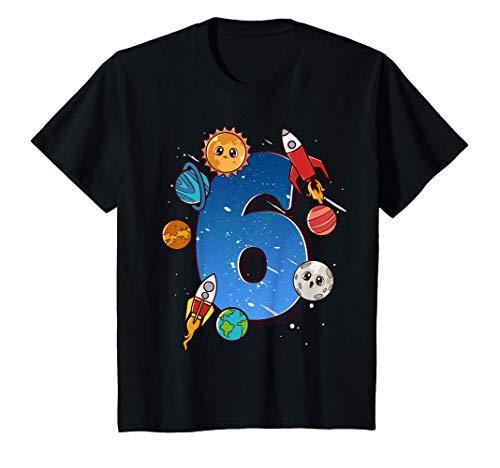 Niños 6er cumpleaños de los chicos viste a los planetas espaciales Camiseta