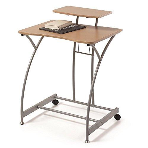 Due-Home - Mesa Escritorio Ordenador Edison, Color Madera Natural y Estructura Gris Aluminio, Medidas 70x58x89 de Altura.