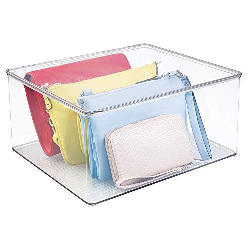 mDesign Cajas para guardar ropa apilables y con tapa – Prácticas cajas de almacenaje para armarios – Cajas de plástico...