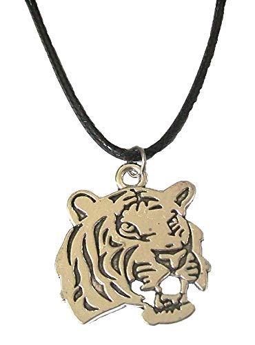 Halskette mit Tiger-Löwen-Anhänger, schwarze Kordel für Kostüm, Party, Tribal, Gothic-Tier, Schmuck für Frauen, Mädchen, Herren