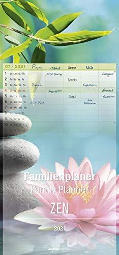Familienplaner Zen 2021 - Familien-Timer 21x45 cm - 5 Spalten - Wand-Planer - viel Platz für Eintragungen - Familienkalender - Alpha Edition