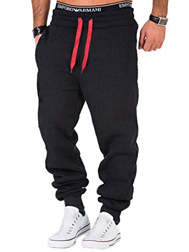 REPUBLIX Herren Sporthose Jogger Jogginghose Sweatpants Trainingshose R0704 Anthrazit/Rot XXL