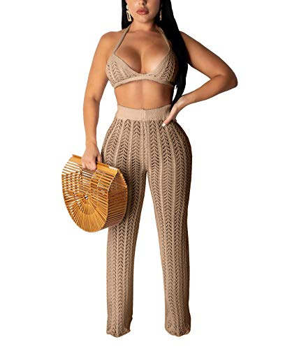 Salimdy Women Two Piece Skirt Set - Sexy Hollow Out Halter Bra Top with Long Pant Cover Up Bikini Beach Jumpsuit Khaki S