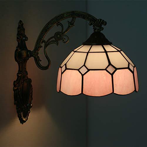 TINE Lámpara de Pared de vidrieras Tiffany Vidrio de Superficie de Bloque de Color múltiple con 20 cm de diámetro de la luz Delantera de la Pared de la Pared,Rosado