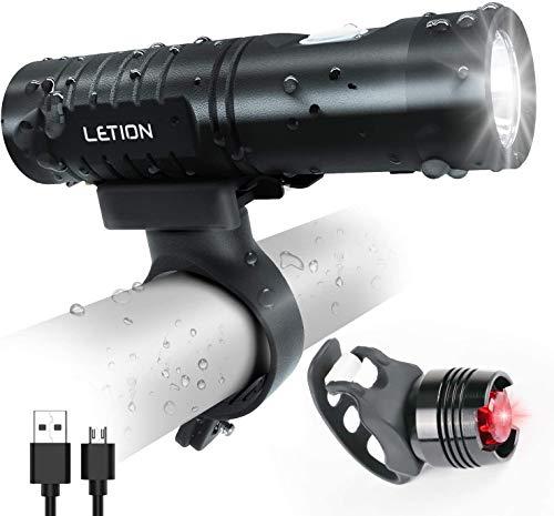 LETION Luci Bicicletta LED, Luce Bici Anteriore e Posteriore per Impermeabile da 800 Lumen con 5 modalità di Illuminazione, Luce Bici Strada e Montagna Ricaricabili