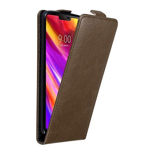 Cadorabo Hülle für LG G7 ThinQ in Kaffee BRAUN - Handyhülle im Flip Design mit unsichtbarem Magnetverschluss - Case Cover Schutzhülle Etui Tasche Book Klapp Style