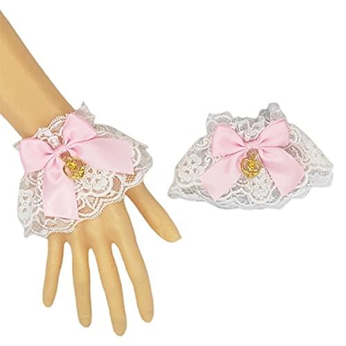 yuese Lolita - Brazalete de encaje con volantes para mujer, diseño de corazón con lazo, color rosa
