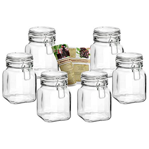 gouveo 6er Set Bügelgläser 750 ml Quadrat Hoch incl. 28-seitige Flaschendiscount-Rezeptbroschüre Vorratsgläser mit Bügelverschluss