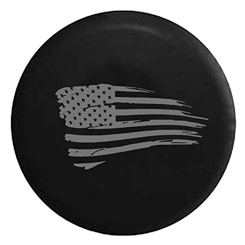 Waving American Flag Military Spare Tire Cover fits SUV Camper RV Accessories Gray Ink 33 in