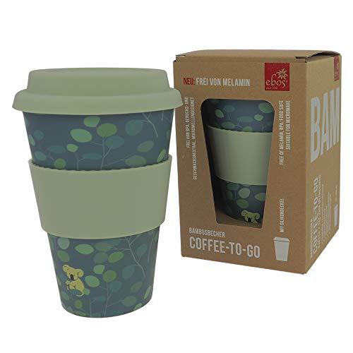 ebos Coffee-to-Go Becher aus Bambus – melaminfrei   Wiederverwendbarer Trink-Becher aus natürlichen Materialien   spülmaschinen- und mikrowellengeeignet   Lovely Koala