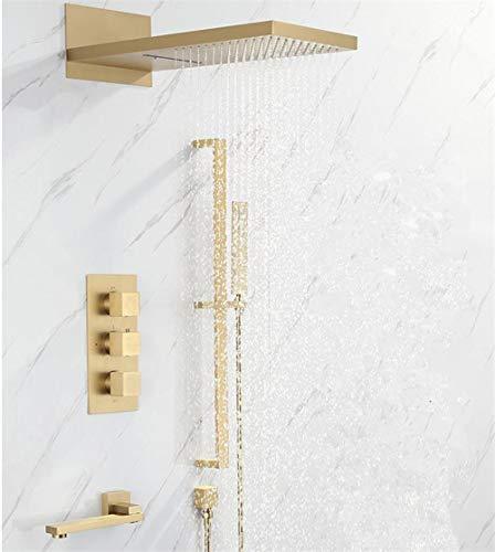 Grifo termostático para ducha de baño de pared para juego de grifos de bañera y ducha, grifo termostático, negro, dorado, dorado cepillado,DRZSLEEPQ7LOQ