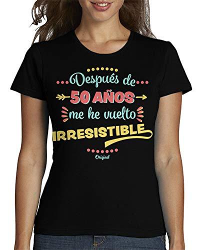 latostadora - Camiseta 50 Anos Irresistible para Mujer Negro S