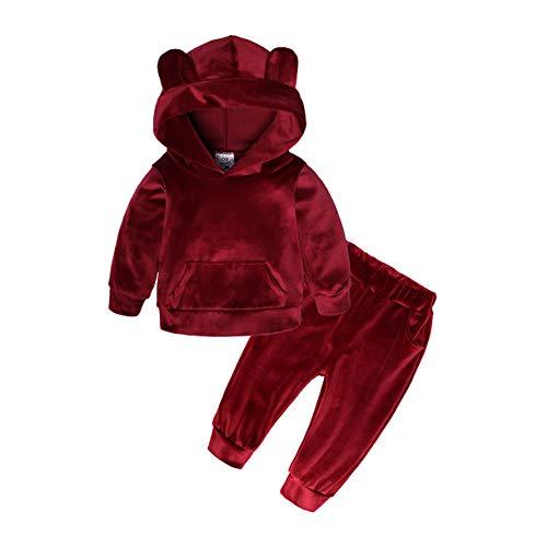 Qinngsha Kinder Baby Jungen Mädchen Solid Warm im Herbst Winter Samt Weinrot Gold Seidendaunen Sweatsuit Trainingsanzug Samt Kleidung Outfit (2 Stück) Gr. 2-3 Jahre, burgunderrot