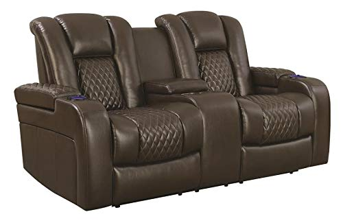Benjara Benzara Leather Upholstered Power Recliner Loveseat with Built In Gadget Facility, Brown