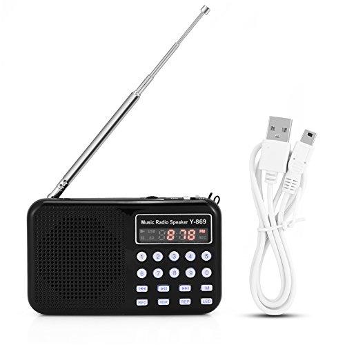 Zerone Mini Digital AM FM Pocket Radio Portable Speaker Support FM Radio TF Card USB Disk with LED Screen Display and Emergency Flashlight Function