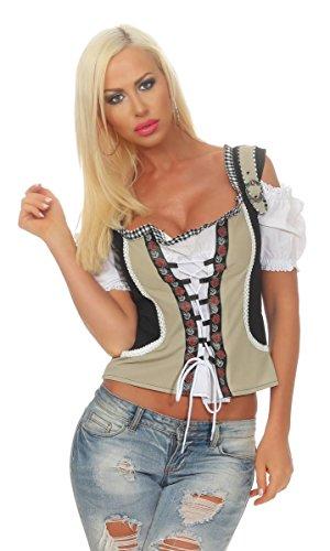 Fashion4Young Damen Dirndlbluse Bluse Trachtenbluse Dirndl Trachten Oktoberfest Lederhose Trachtenmieder (38, Schwarz Weiß)