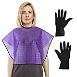 CCbeauty Haircut Cape and Reusable Gloves Set, Short Salon Waterproof Capes for Cutting Styling Coloring Hair Conditioning Hot Oil Shawl Cloth for Hair Perming Hair Dye tool Set(Purple)