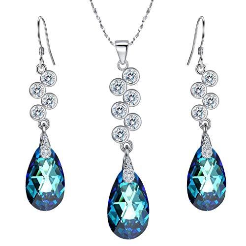 Clearine Donna Parure gioielli-Argento lacrima grappolo Pendente Collana gancio Ciondolare Orecchini Set Adornato con Cristallo Bermuda Blu