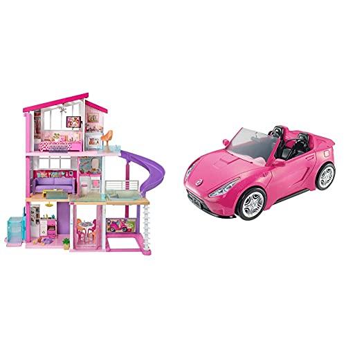 Barbie GNH53 Traumvilla Dreamhouse Adventures Puppenhaus mit 3 Etagen, 8 Zimmer, Pool mit Rutsche und Zubehör, ca. 116 cm hoch & Cabrio Fahrzeug, in pink, mit Platz für 2 Puppen, Puppen Zubehör