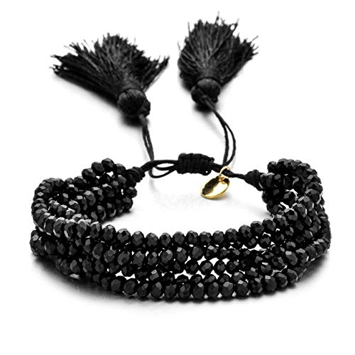 Charm Multi Layered Bracelets For Women Boho Crystal Seed Beads Bracelets Jewelry Party Gift-Black Color,Adjustable
