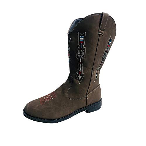 BIBOKAOKE Dames Rome Retro grote maat lange schacht laarzen Mid Boot waterdichte ridderdiepte laarzen herfst winter leer anti-slip slip-on rond borduurwerk lage hakken schoenen cowboylaarzen