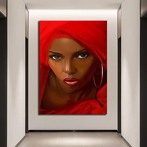 Afrikaanse vrouw rode sjaal moderne canvas poster en print muurschildering wall art foto decoratie woonkamer frameloze schilderij 60x90 cm