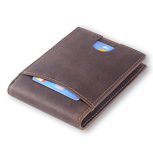 Cartera de piel auténtica con bloqueo RFID con clip de dinero, tarjetero para tarjetas de crédito, cartera de viaje, mini cartera plegable para hombres con caja de regalo, marrón (Marrón) - unknown