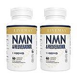 Absorción máxima de Trans-Resveratrol 600mg + NMN 500mg | Cápsulas Vegetales | Alto Antioxidante | Apoyo al Antienvejecimiento | Sin Gluten | Sin OGM, 120 Cápsulas (Paquete de 2)
