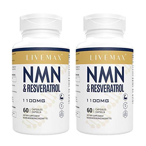 NMN+Resveratrol 120 Kapseln, leistungsstarkes Antioxidantien-Supplement für Herzgesundheit & Anti-Aging, angereichert mit schwarzem Pfefferextrakt für höhere Absorption