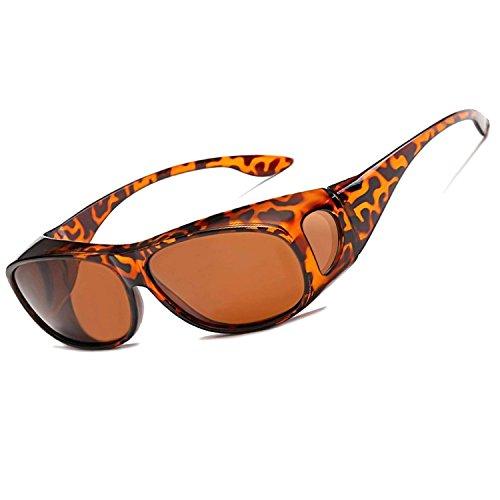 LEDING&BEST Sonnenbrille Überziehbrille für Brillenträger Brille Herren Damen {Polarisiert Sonnenüberbrille über Normale Brillen},UV400 Sunglasses Fit Ove Rx Glasses (Leopard print)
