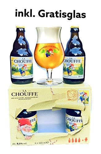 La Chouffe Bière blonde Alc. 8% Vol, 4x 330m inkl. original Glas + OVP