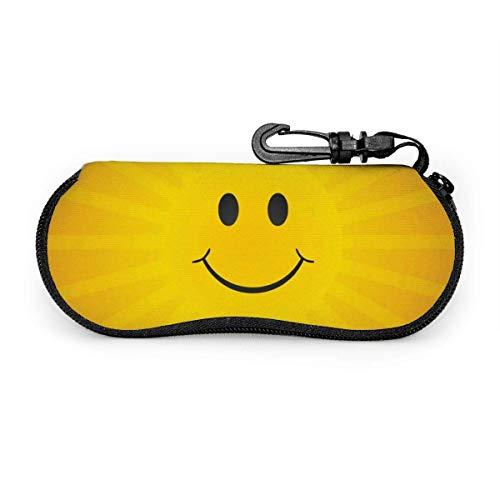 GERERIC Estuche Para Las Gafas,Expresiones Divertidas Abstractas Con Sonrisa Cara Sol Estuche Plegable De Gafas,Funda De Neopreno Con Cremallera,Funda Portátil Caja Para Gafas De Sol