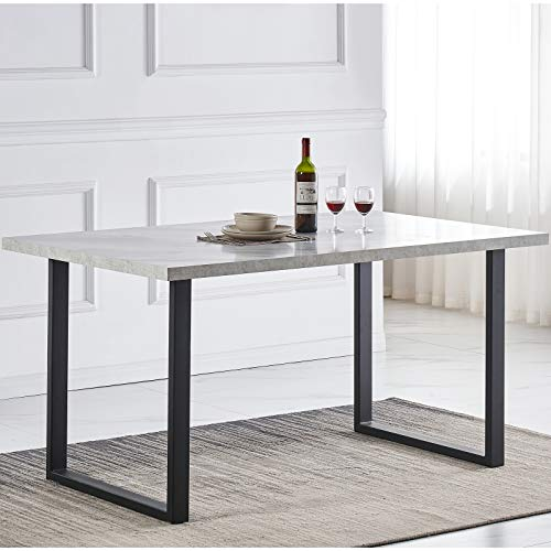 AINPECCA Dining Table Industrial Style MDF top with Metal legs 150 x 90 x 76cm (150 x 90cm, Grey marbel effect top with leg B)